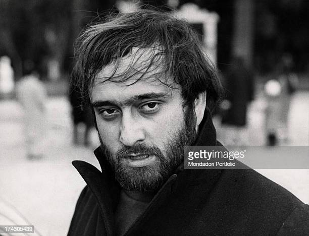 Closeup of the singer Lucio Dalla with ruffled hair Sanremo Italy 1967