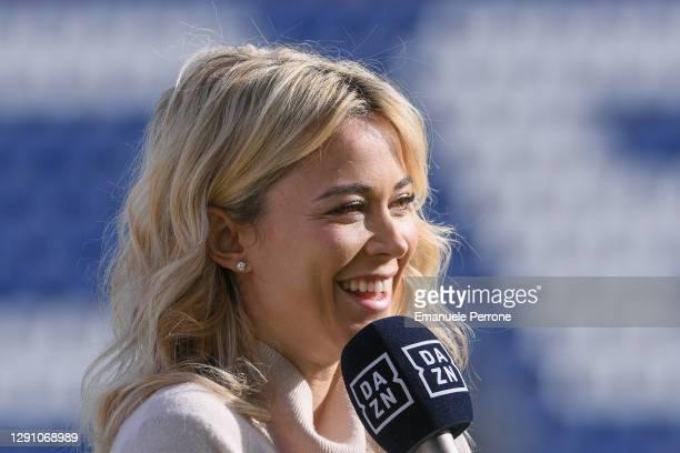 Close-up of the smiling Italian presenter Diletta Leotta during the Serie A match between Cagliari Calcio and FC Internazionale at Sardegna Arena on...