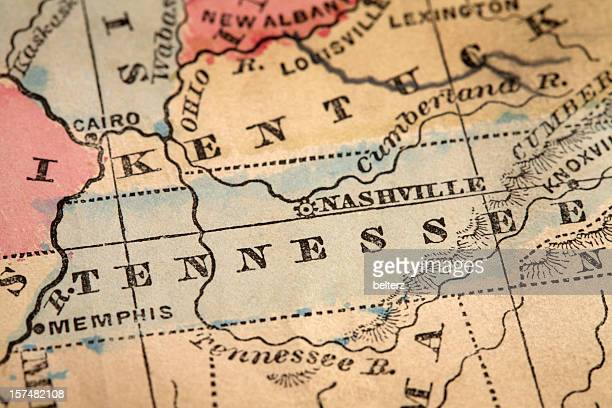 close-up of the state of tennessee on a map - tennessee stock pictures, royalty-free photos & images
