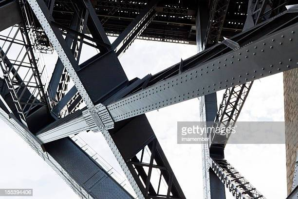 closeup of the steel framework of the harbor bridge - construction frame stock pictures, royalty-free photos & images
