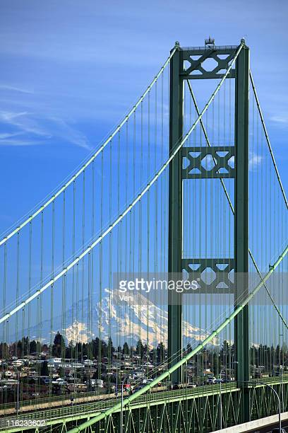 close-up of the tacoma narrows bridge in washington - kitsap county washington state stock pictures, royalty-free photos & images
