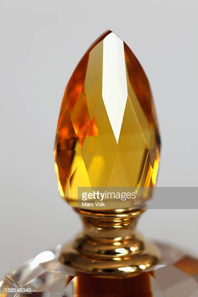 Close-up of the topper on a perfume bottle