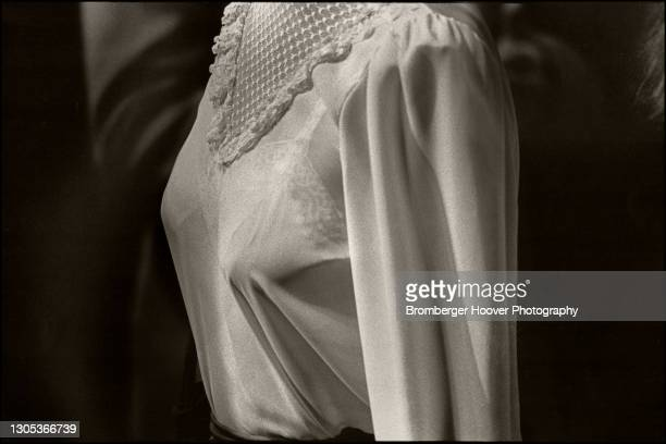 Close-up of the torso of an unidentified woman in a semi-transparent blouse at the Republican Headquarters in Century City, Los Angeles, California,...
