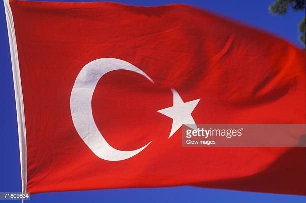 Close-up of the Turkish flag fluttering