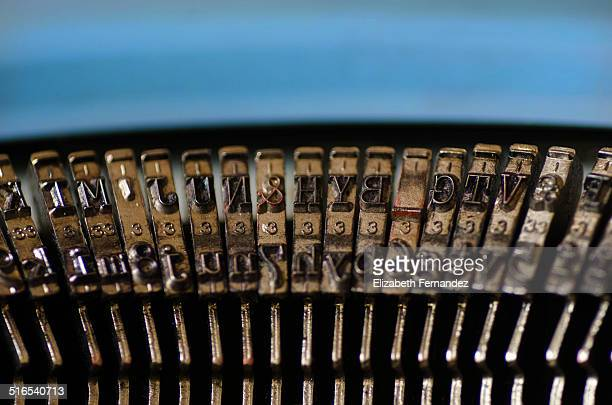 Close-up of the typebars of a typewriter