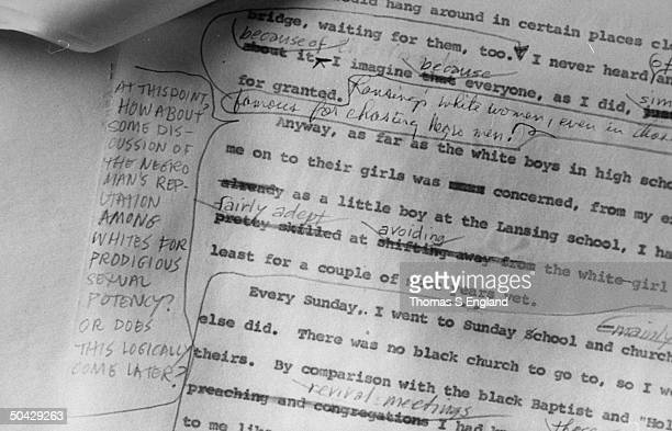 Closeup of the typewritten manuscript of the late author Alex Haley's autobiography of Malcolm X which features handwritten notes comments by the...