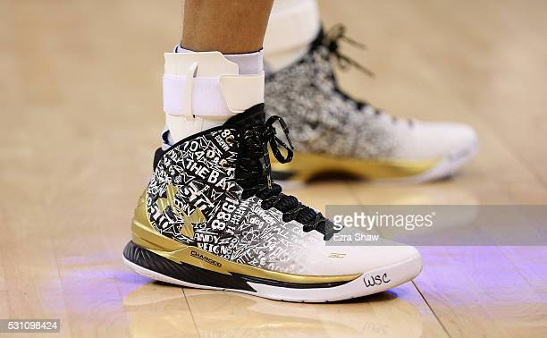 Close-up of the Under Armour shoes Stephen Curry of the Golden State Warriors wore during their game against the Portland Trail Blazers in Game Five...