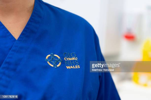 A closeup of the uniform of a NHS Wales nurse on December 5 2018 in Cardiff United Kingdom