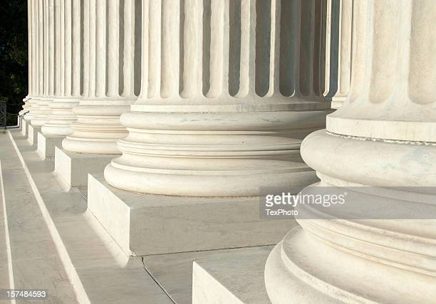 Close-up of the white columns at the U.S. Supreme Court