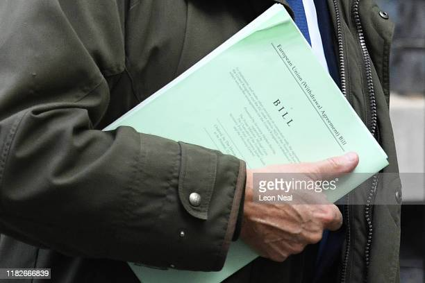 A closeup of the Withdrawal Agreement Bill as European Research Group member Iain Duncan Smith leaves Downing Street on October 22 2019 in London...