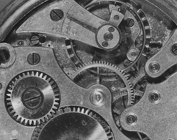 A close-up of the workings on the inside of a wristwatch....