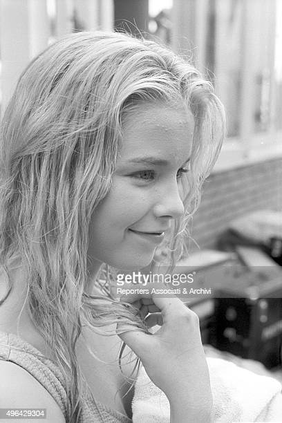 Closeup of the young British actress Jill Haworth during a break in the shooting of the film Exodus Cyprus 1960