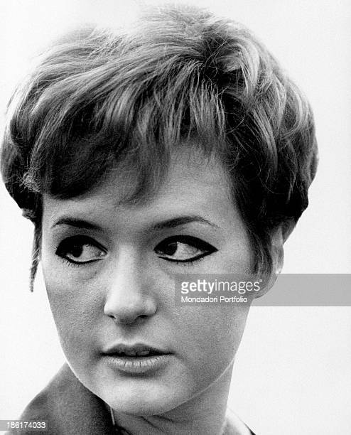 Closeup of the young Italian singer actress presenter showgirl and impersonator Loretta Goggi looking at her right last year Loretta Goggi reached...