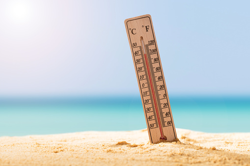 Close-up Of Thermometer On Sand 949190686