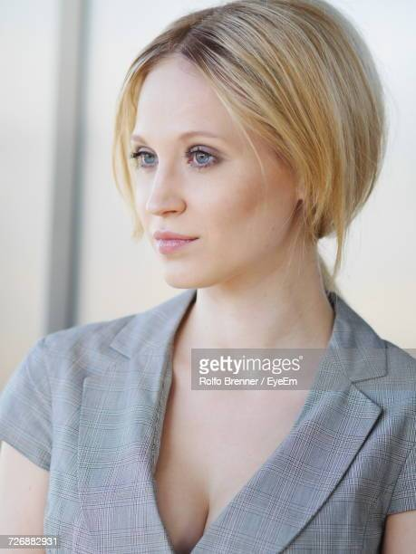 close-up of thoughtful woman - cleavage close up stock photos and pictures