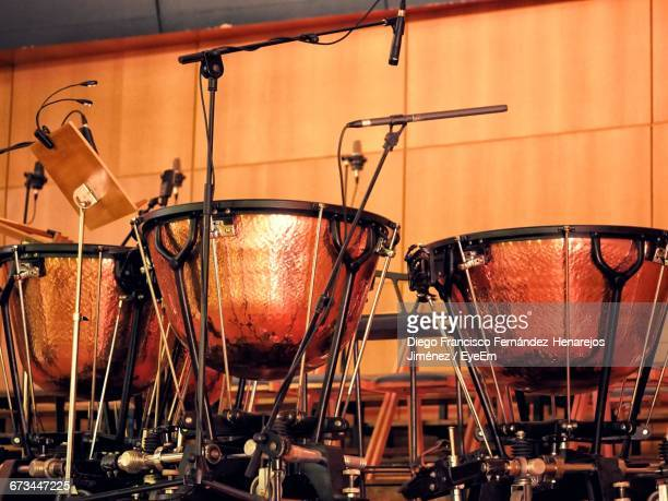 close-up of timpani in concert hall - percussion instrument stock photos and pictures