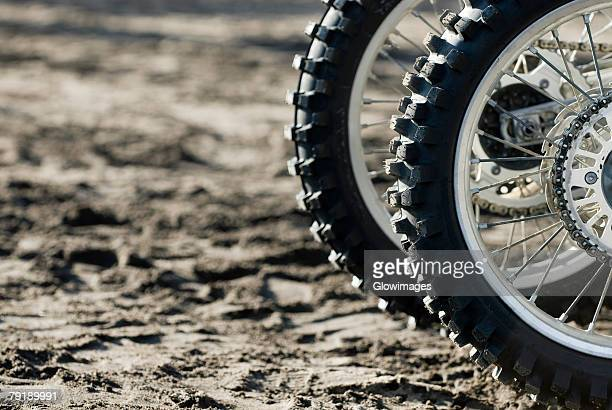 Close-up of tires of motorcycles