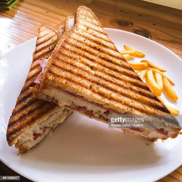 Close-Up Of Toasted Sandwich In Plate