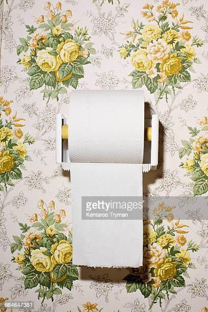 Close-up of toilet paper on wall with pattern