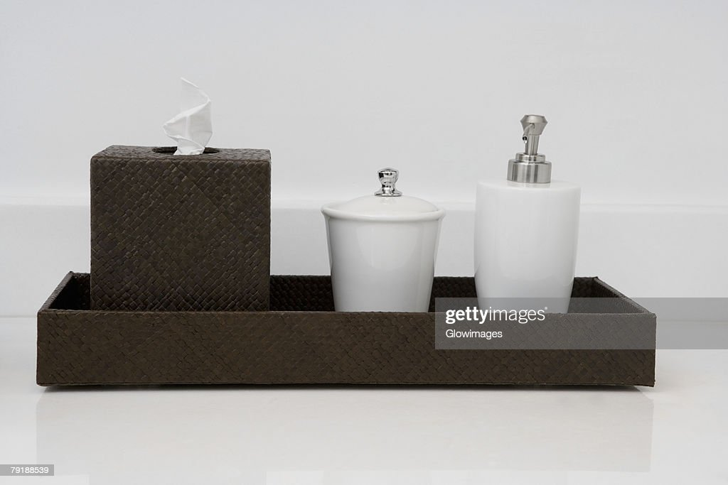 Close-up of toiletries in the bathroom : Stock Photo