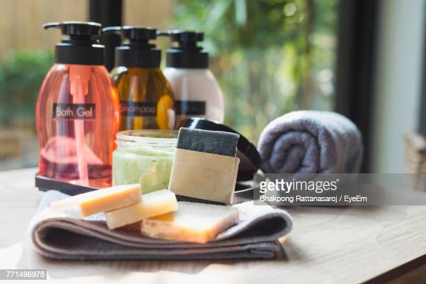 close-up of toiletries on table - toiletries stock pictures, royalty-free photos & images