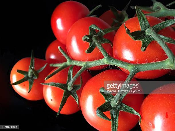 Close-Up Of Tomatoes Against Black Background