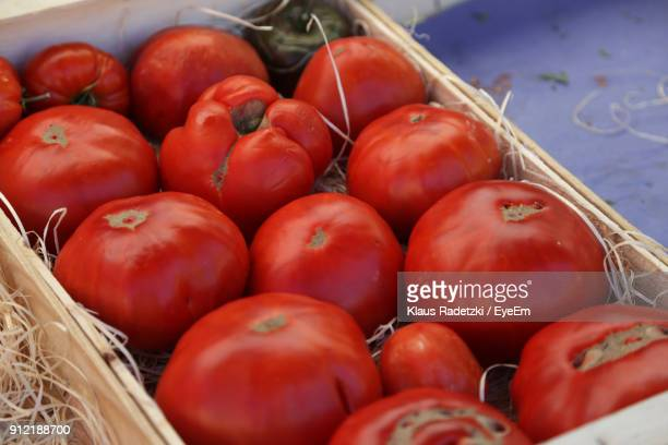 close-up of tomatoes for sale at market - embrun stock photos and pictures