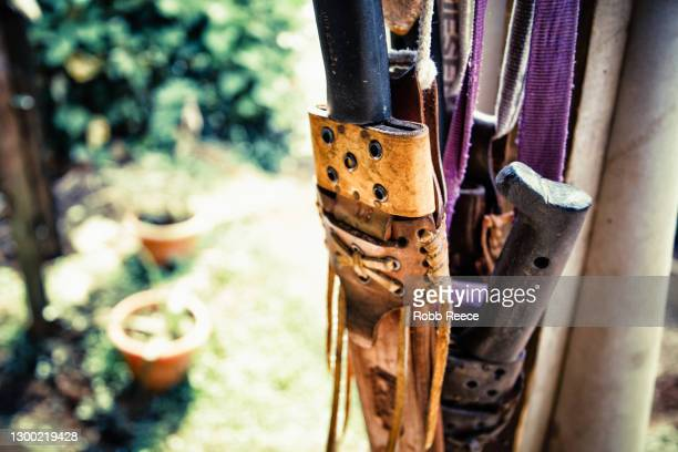 close-up of tools and knife in greenhouse in costa rica - robb reece stock pictures, royalty-free photos & images