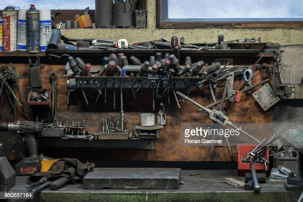 Closeup of tools in a blacksmith workshop on April 03 2018 in Klitten Germany