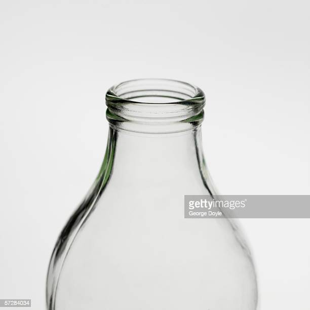 Close-up of top of glass bottle
