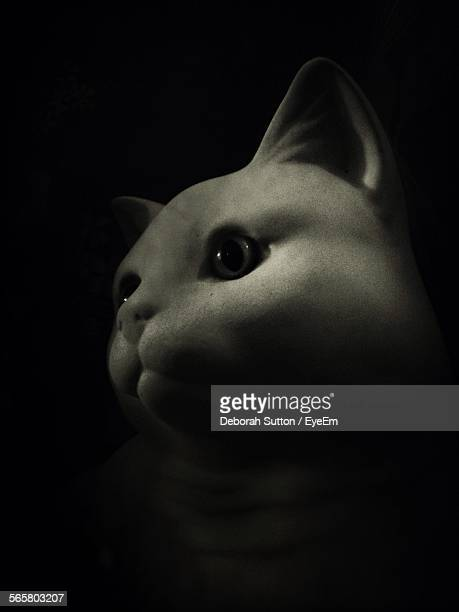 Close-Up Of Toy Cat Against Black Background