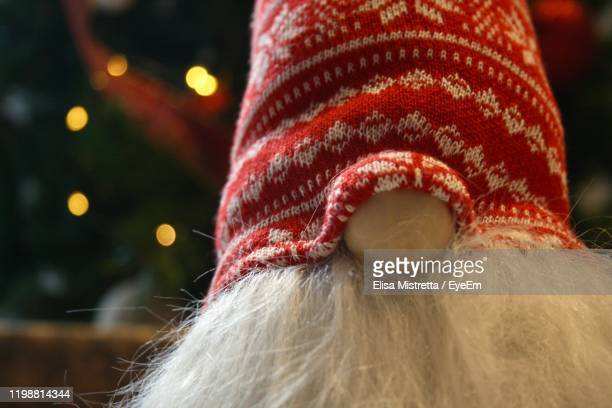 close-up of toy during christmas - gnome stock pictures, royalty-free photos & images