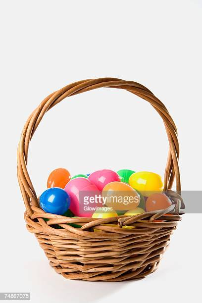 Close-up of toy eggs in a basket