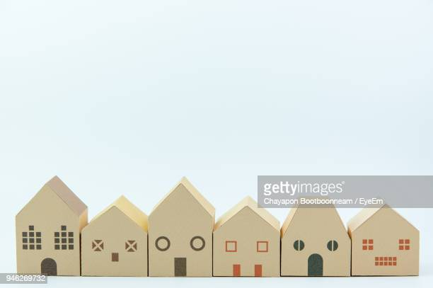 Close-Up Of Toy House Against White Backgrounds