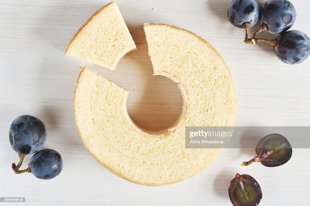 Close-up of traditional Japanese layered chiffon cake with hole in the middle. Soft focus. : Stock Photo