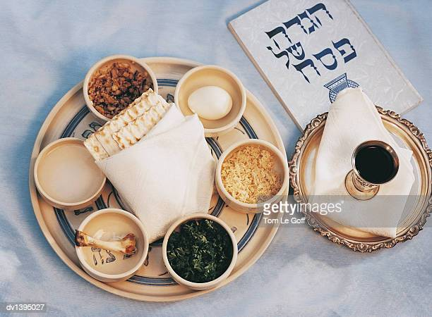 close-up of traditional jewish food - passover symbols stock pictures, royalty-free photos & images