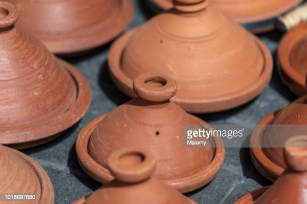 Close-up of traditional Moroccan cooking pots, tagines. Marrakesh, Marrakesh-Safi, Morocco.