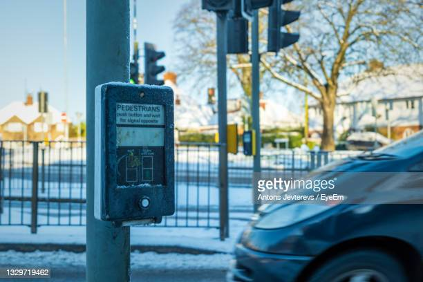 close-up of traffic equipment at road - northampton stock pictures, royalty-free photos & images