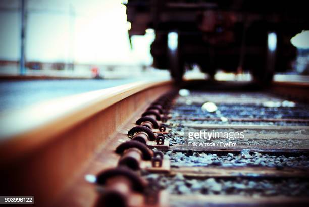 Close-Up Of Train On Railroad Track