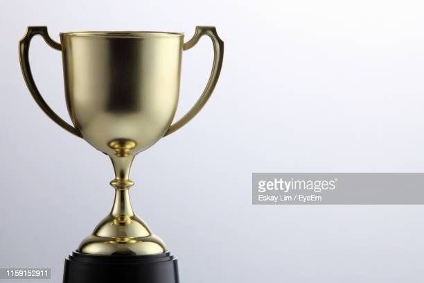 close-up of trophy against white background - trophy stock pictures, royalty-free photos & images
