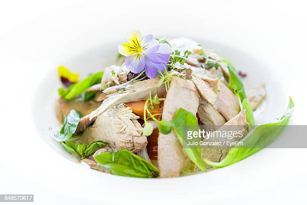 Close-Up Of Tuna Salad Served In Bowl