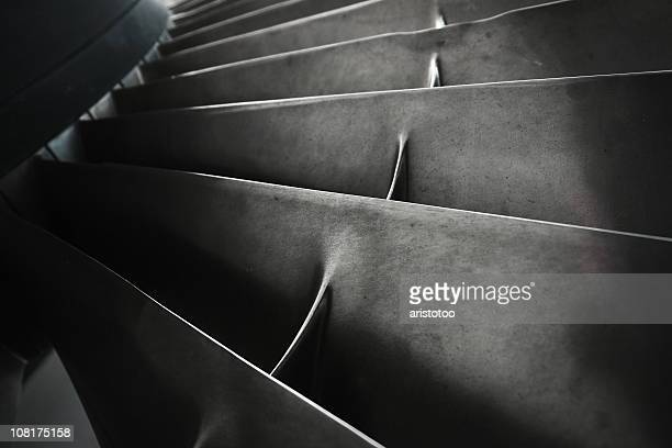 close-up of turbine fan blades - jet engine stock photos and pictures