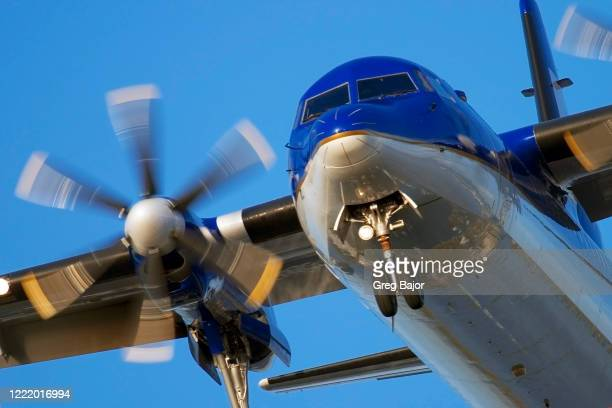 close-up of turboprop aeroplane - fuselage stock pictures, royalty-free photos & images