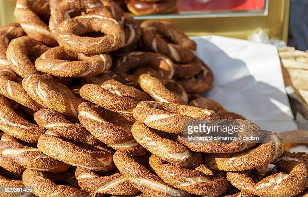 Close-Up Of Turkish Bagel Stack For Sale