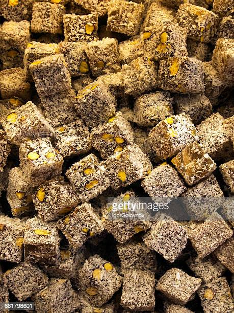 Close-up of turkish delight confectionery