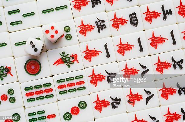 Close-up of two dice on a Mahjong game