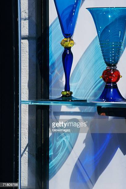 close-up of two glasses, venice, veneto, italy - murano stock pictures, royalty-free photos & images