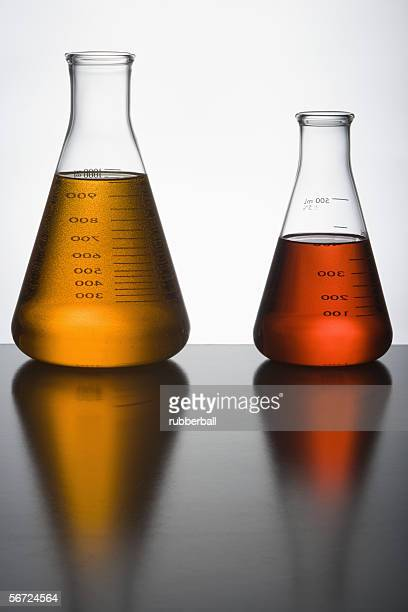 Close-up of two liquid filled flasks