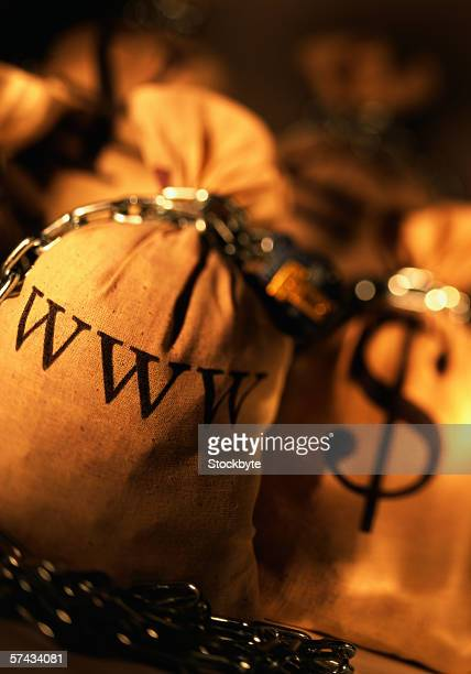 close-up of two sacks chained with the dollar and www symbol written on it