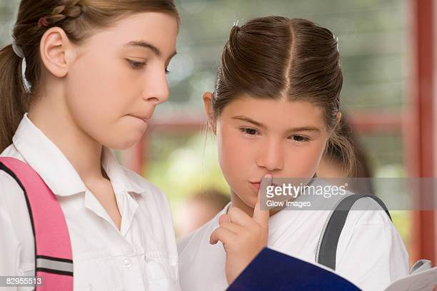 close-up of two schoolgirls looking at a textbook - hair part stock pictures, royalty-free photos & images